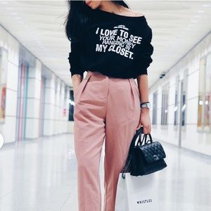 ZARA Black sweater with white logo print M